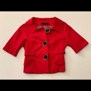 Zara Red Cropped Blazer Jacket